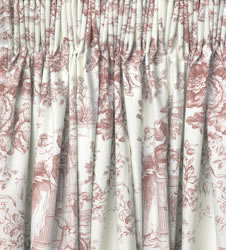 toile de jouy vintage pink ready made curtains