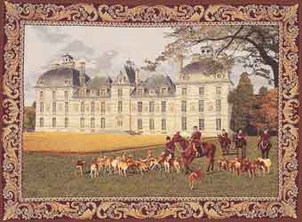 cheverny palace with hunting scene