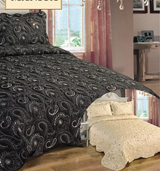 jasmine black satin bedspread with silver embroidery