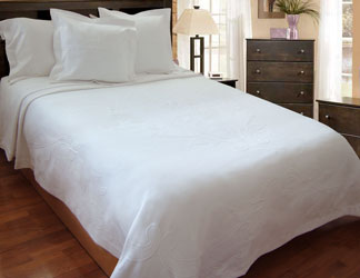 ramsden white cotton embossed bed cover