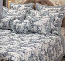 toile wedgewood bedspread, duvet cover and curtains