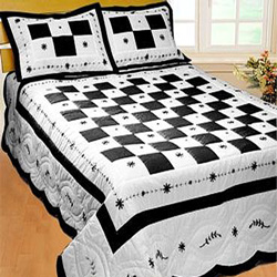 angela black patchwork quilt set with shams