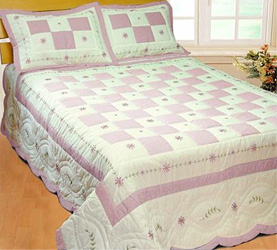 angela pink patchwork quilt with shams
