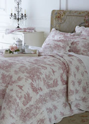 chantilly pink toile bedspread