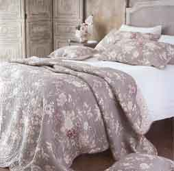 lucille grey and pink floral quilted bedspread