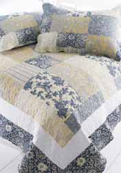 sicily blue and lemon patchwork quilt