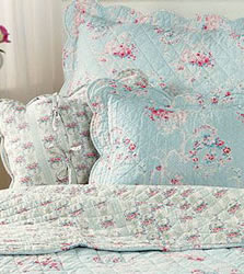 sophie blue floral and cream stripe superking bedspread