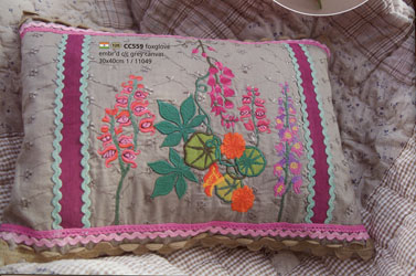 foxglove embroidered cushion