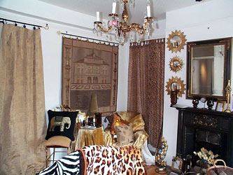 tapestry wall hangings and animal print voile tab top curtains