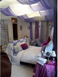 lilac and white voile tented ceiling treatment