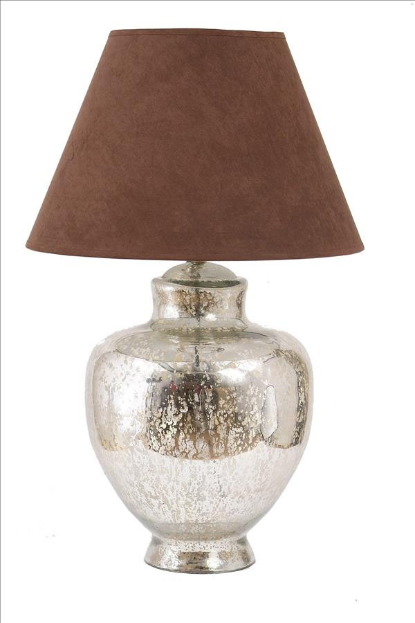 mercury glass urn lamp base with 18 brown faux suede shade 197083sh. Black Bedroom Furniture Sets. Home Design Ideas