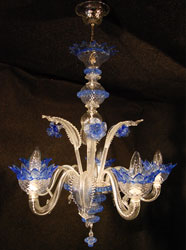 murano glass chandelier blue gold