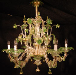 murano chandelier green and gold