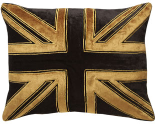 union jack velvet cushion in black crushed velvet with gold velvet applique  and gold silk embroidery
