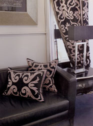 black velvet appliqued curtains and cushions