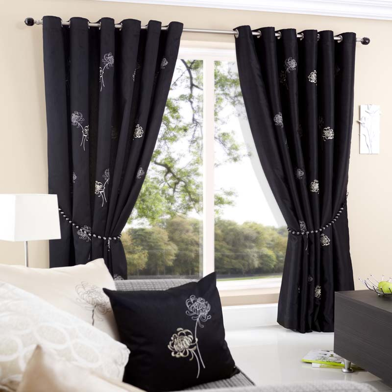 Casa Black Eyelet Curtains