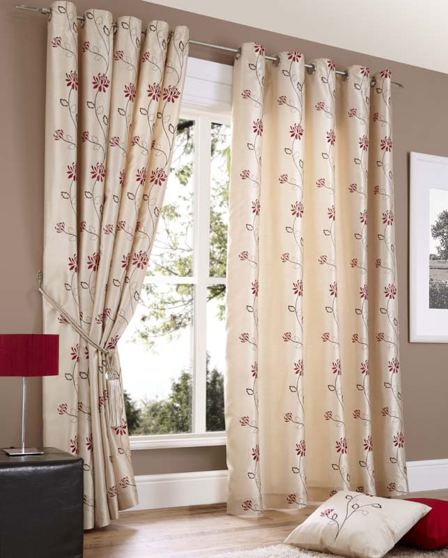 fully made and cream ready black silver red lined curtains savoy itm eyelet