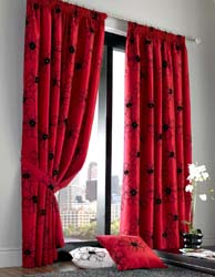diamante red tape headed curtains