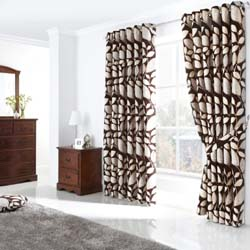 london leaf eyelet curtains chocolate