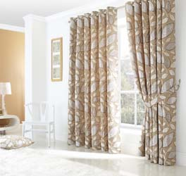 london leaf eyelet curtains cream