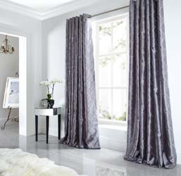 midtown silver faux silk eyelet curtains