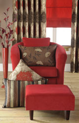 red tub chair and chocolate made to measure curtains and roman blind