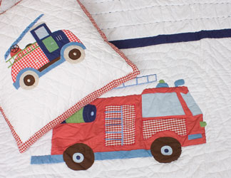 fire trucks bedspread and cushion