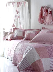 pink gingham and spotty patchwork quilt for girls