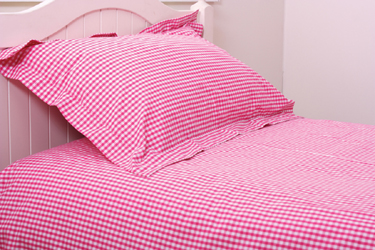 shocking pink gingham duvet covers, curtains and pillowcases