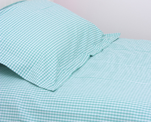 turquoise gingham duvet covers, curtains and pillowcases for children