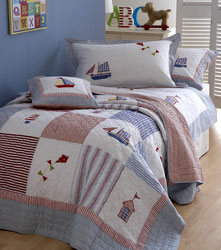 boats and kites appliqued boys bed linen