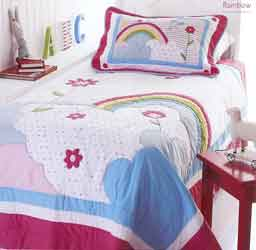 rainbow appliqued bedspread for boys or girls