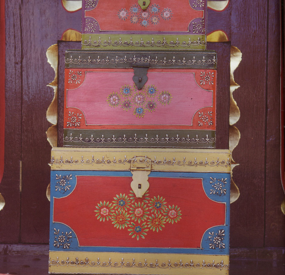 mehandi set of three painted storage boxes & kitchen accessories Aboutintivar.Com