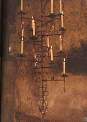 hanging black metal chandelier with glass crystal drops
