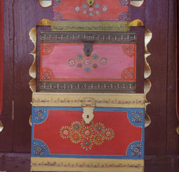 mehandi set of three painted storage boxes