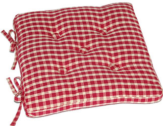 aspen red gingham buttoned seat pad