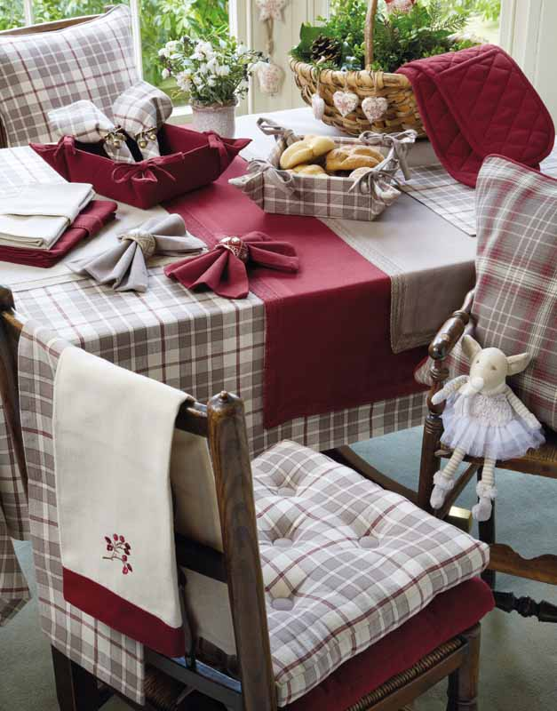 Montana Range Of Check Seat Pads Tablecloths Place Mats