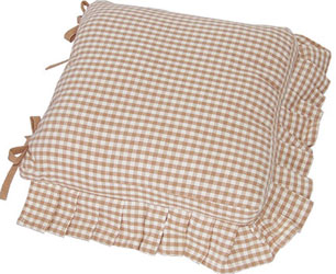 auberge frilled seat cushion cover with ties biscuit