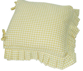 auberge frilled seat cushion cover with ties aqua