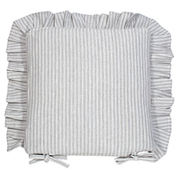 county ticking suffolk grey frilled seat cushion with ties