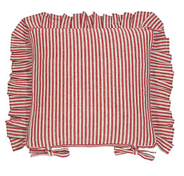 county ticking dorset red frilled seat cushion with ties