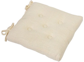 primavera cream linen effect buttoned seat pad with ties