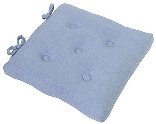 primavera linen effect buttoned seat pads wedgwood blue