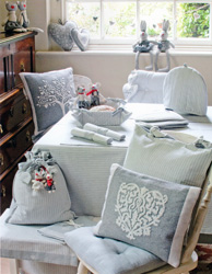 county ticking suffolk grey seat pads and tablecloths