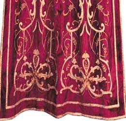frances claret velvet curtain closeup