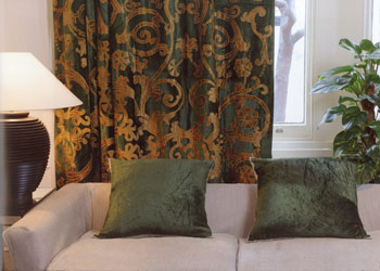 green velvet with gold velvet appique curtains