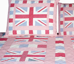 Childrens bed linen from linen lace and patchwork for Pink union jack bedding