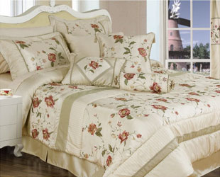 gardenia cream embroidered floral bedpread with range of matching curtains, duvet covers, cushions and valances click here for more like this