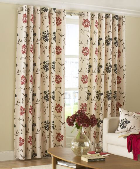 Cetona Red Black Froral Eyelet Curtains