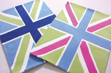 girls and boys union jack wool rugs